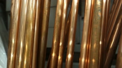 Copper pipes pipe Stock Footage