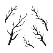 Branches vector hand drawn illustration. Icons on transparent background - stock illustration