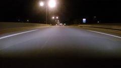 GoPro attached to bumper of car at night - 58 - stock footage