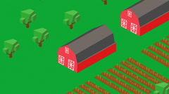 Farmland isometric farm land Stock Footage