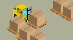 Forklift warehouse package isometric Stock Footage