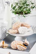 Sweet cookies on white tray with cups of coffee with green and white flower Stock Photos