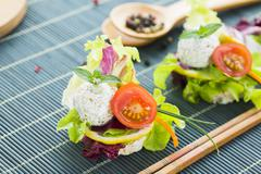 Healthy Rice Canape with Protein Cheese and Cherry Tomato Stock Photos