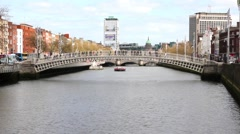 Liffey river bank in Dublin, Ireland Stock Footage