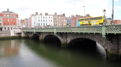 Liffey river bank in Dublin, Ireland - stock footage