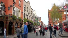 Tourists walking in the Temple Bar area Stock Footage