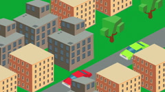 isometric city iso metric cars landscape city - stock footage