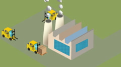 Isometric manufacture production factory Stock Footage