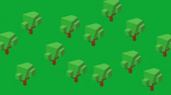 Isometric trees growing grow greenspace Stock Footage