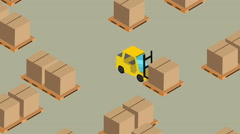 Lots of forklifts warehouse isometric 2 Stock Footage