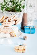 Celebrating with sweets, candies, cookies and gifts Stock Photos