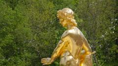 Peterhof.Golden Statue.Slow motion.Saint Petersburg Stock Footage