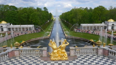 Peterhof.The main cascade. Top view.Slow motion.Saint Petersburg Stock Footage