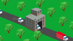 Shipping out trucks isometric production Stock Footage