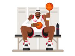 Cartoon basketball player - stock illustration