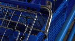 Shopping carts at store Stock Footage