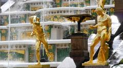 Peterhof.Fragments of the Main cascade..Slow motion.Saint Petersburg - stock footage