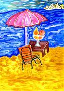 Beach Scene Art Stock Illustration