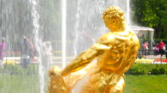 Peterhof.Fountain Samson and leon.Slow motion.Saint Petersburg Stock Footage