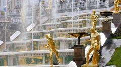 Peterhof.Fragments of the Main cascade..Slow motion.Saint Petersburg Stock Footage