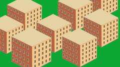 Urban sprawl isometric buildings development building Stock Footage