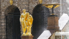 Peterhof.Fragments of the Main cascade..Saint Petersburg Stock Footage