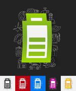 charge the battery paper sticker with hand drawn elements - stock illustration