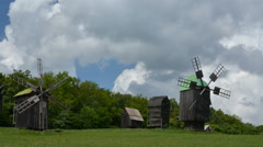 Old windmills. Clouds Stock Footage