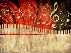 Piano Keyboard with Music Notes Grunge Stock Illustration