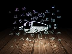 Travel concept: Bus in grunge dark room Stock Illustration