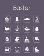 Set of easter simple icons - stock illustration