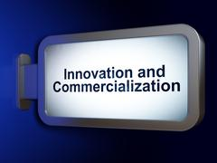 Science concept: Innovation And Commercialization on billboard background - stock illustration