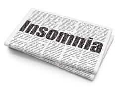 Healthcare concept: Insomnia on Newspaper background - stock illustration