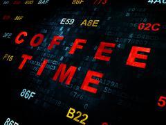 Timeline concept: Coffee Time on Digital background - stock illustration