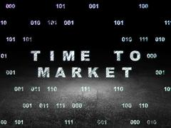 Time concept: Time to Market in grunge dark room Stock Illustration