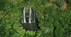 Aerial view of amazing double waterfall in tropical rain forest jungle Stock Footage