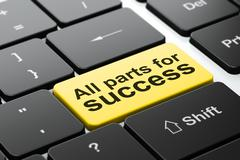 Finance concept: All parts for Success on computer keyboard background - stock illustration