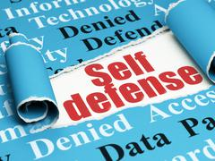 Safety concept: red text Self Defense under the piece of  torn paper - stock illustration