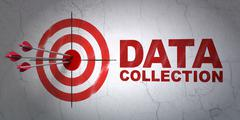 Information concept: target and Data Collection on wall background - stock illustration