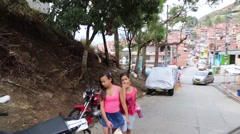 The city go Medellin Colombia from its slums Stock Footage