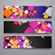 Set of modern design banner template in abstract geometric background style - stock illustration