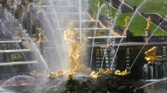 Peterhof.Fountain Samson and lion.Slow motion.Saint Petersburg Stock Footage