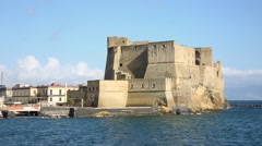 Naples, View of Castel dell'Ovo - stock footage