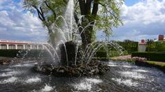 Peterhof.Fountainin the park.Slow motion.Saint Petersburg Stock Footage