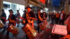 Luxembourg, Procession of People, Drums, Firefighter Stock Footage