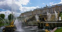 Peterhof.Main cascade.timelapse.Saint Petersburg Stock Footage