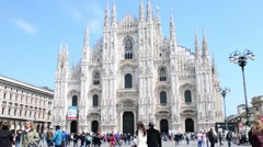 Duomo In Milan Spring - The Crowds Of Tourists Walk On The Square Stock Footage