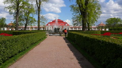 Peterhof.Fountain in the park.Slow motion.Saint Petersburg Stock Footage