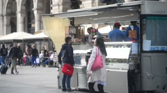 Street food stall in the center of Milan Stock Footage