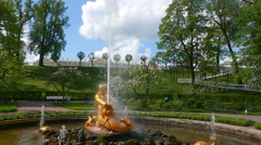 Peterhof.Triton and the beast.Slow motion.Saint Petersburg Stock Footage